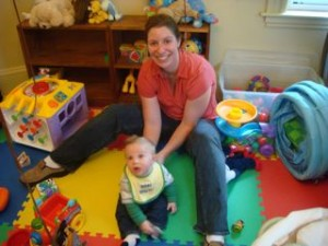 Sarah and Bodie having fun in the playroom!