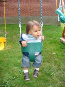 He could have stayed on the swings all afternoon!