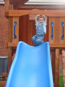 James showing us how much fun the slide could be!