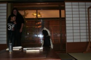 The house was exactly like in Japan!  It had actual tatami mats, a rock garden and the funny toilets they have in Japan!!