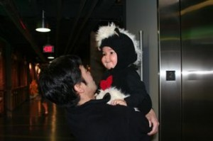 Aww Daddy and his little stinker!