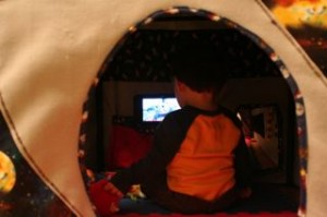 Heres Noby from today, watching a movie in his rocketship!