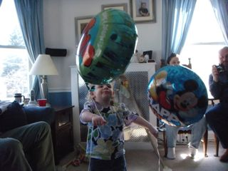 The birthday girl with her balloons!