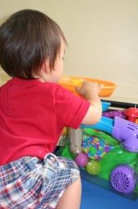 """It all ended by Noby playing the """"Will this fit in the hole game.""""  And it did, can you see it in that toy?  OOPS!"""
