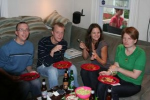 Keith, Brian, Lisa and Megan enjoying some food!