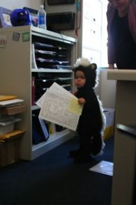 Doing a little filing in Auntie's office!