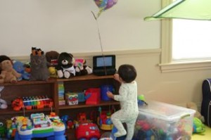 One day Noby wouldnt let his birthday balloon go.  Here he is watching his Thomas video as he hangs on tight!