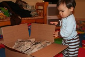 Yesterday Noby got a surprise birthday package in the mail.  He couldn't wait to find out what was in it!!