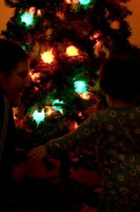 Showing Noby his Christmas tree.