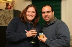 Andy and I toasting!  Me with my Malibu and Coke and Andy with his Virtual Beer.